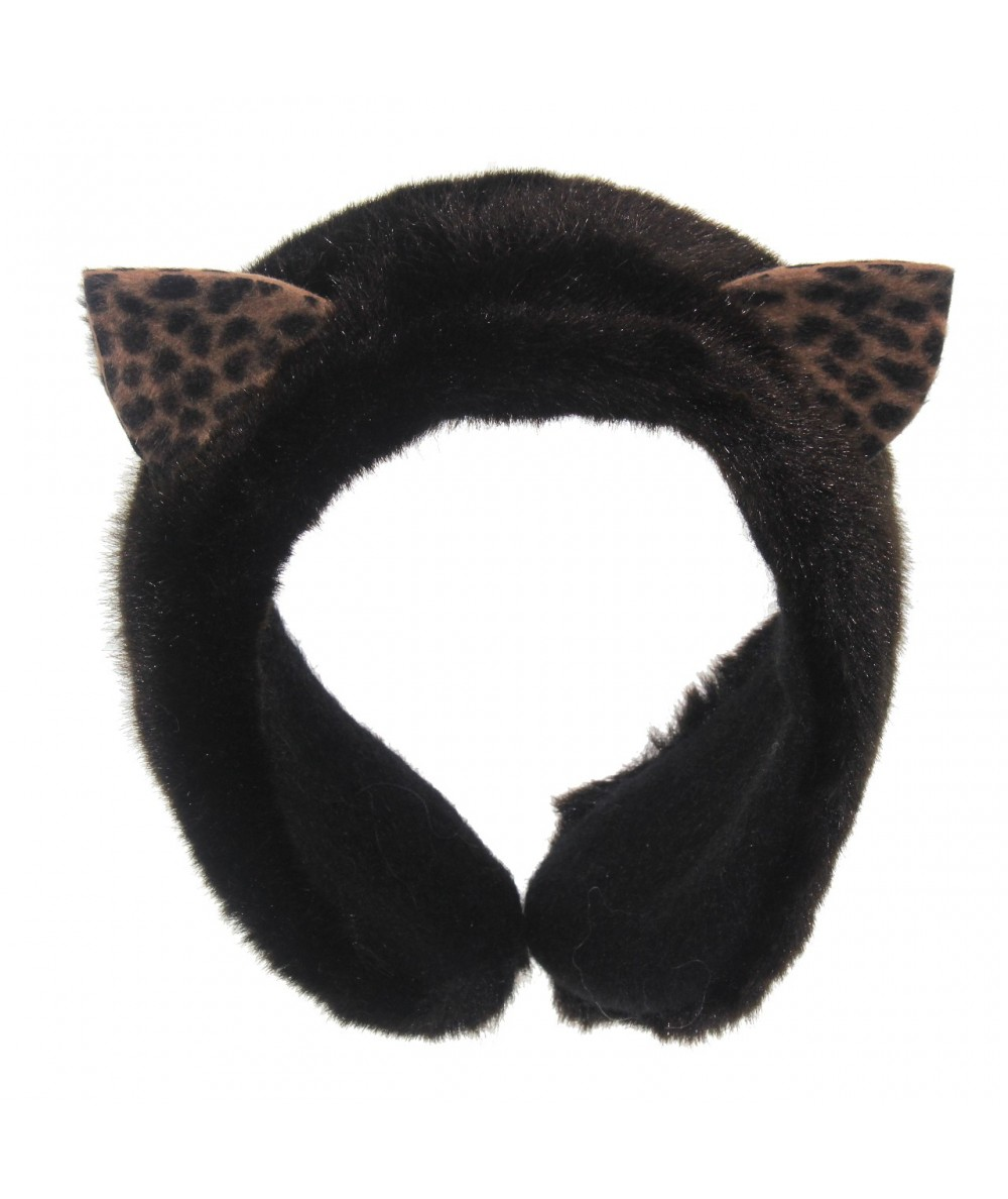 Couture Cat Earmuffs - faux fur with felt ears - Black