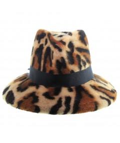 Bianca Animal Print Felt fedora Hat Trimmed with Black Grosgrain Band