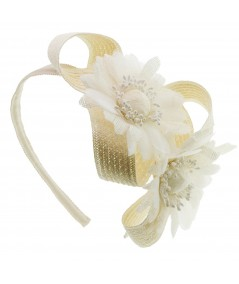 Dehlila Ivory Flower with Toyo Bow Summer Headband