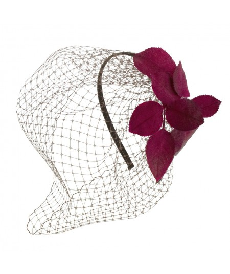 Vintage Satin Leaves & Veil Fascinator