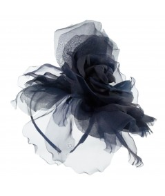 Navy Fascinator Large Organza Flower Side Headpiece