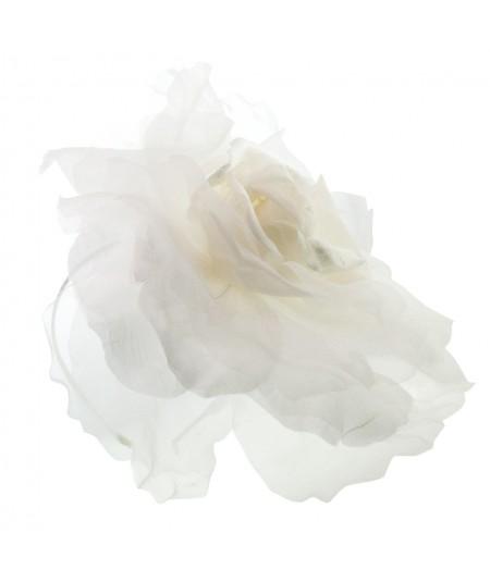 Ivory Fascinator Large Organza Flower Side Headpiece