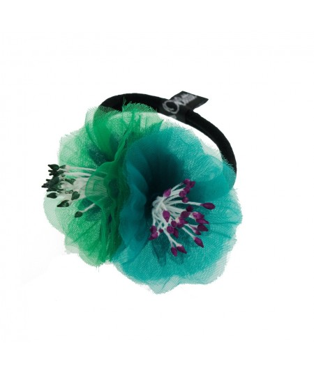 Green and Teal Flower Ponytail Holder by Jennifer Ouellette