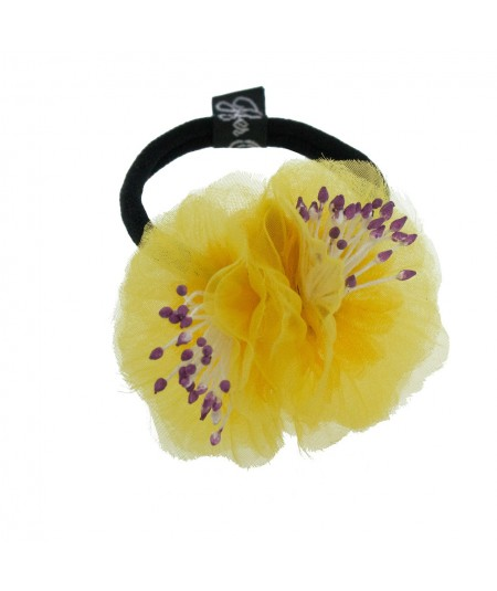 Yellow Flower Ponytail Holder by Jennifer Ouellette