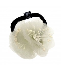 Ivory Flower Ponytail Holder by Jennifer Ouellette