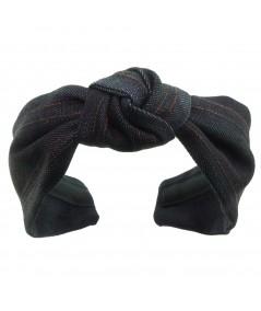 Indigo Denim Center Knot Turban with Double Contrast Stitch Headband