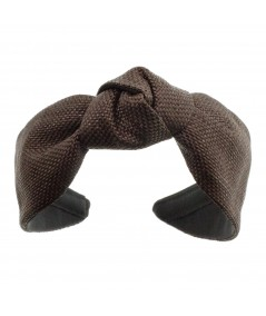 Brown Raffia Center Turban Brown