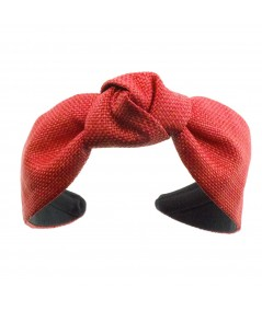 Red Raffia Center Turban Red