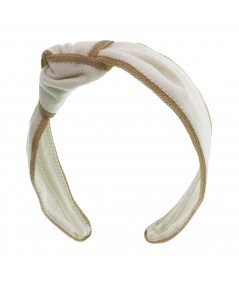 Ivory Twill Side Turban with Camel Toyo Trim