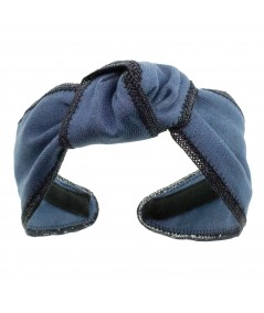 DM17 Denim Center Knot Turban with Toyo Binding