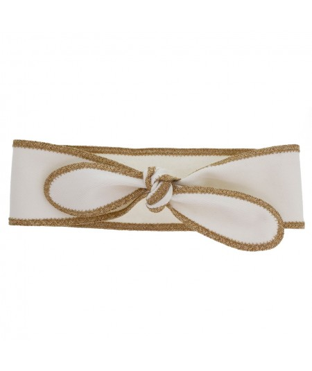 White Cotton Twill Wrap Headband with Wheat Toyo