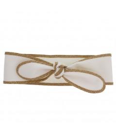 White Cotton Twill Wrap Headband with Wheat Toyo