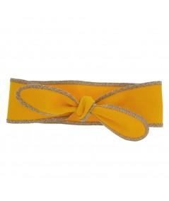 Marigold Cotton Twill Wrap Headband with Wheat Toyo