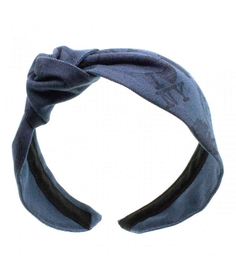 Hand Stamped Denim Side Turban