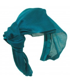 Teal draped-chiffon-extra-wide-headband-with-side-knot-bow
