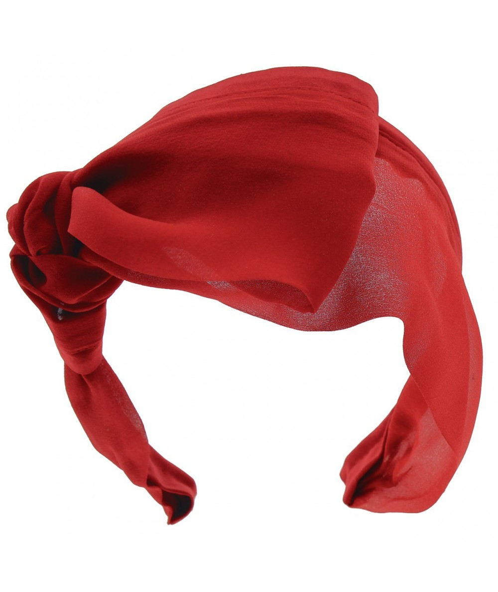 Red draped-chiffon-extra-wide-headband-with-side-knot-bow