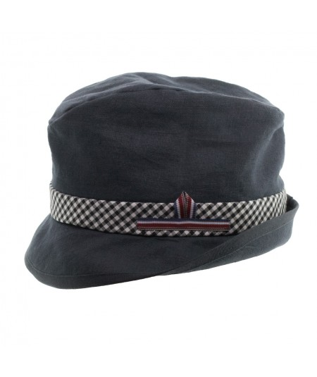 Men's Linen Trilby with Gingham Band