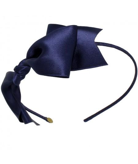 Satin Bow Headband - Navy