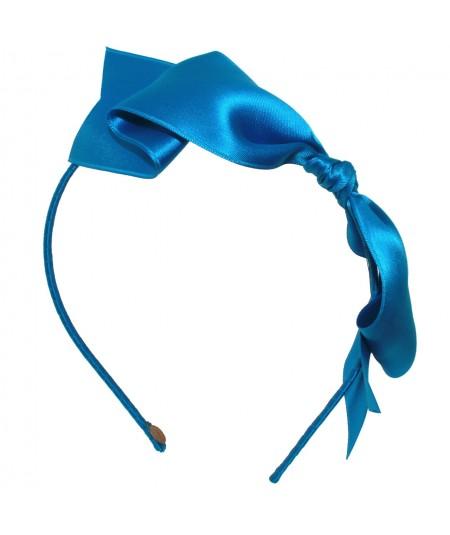 Satin Bow Headband - Turq