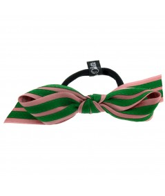 Old Rose - Kelly Green Satin Stripe Millinery Bow Ponytail Holder by Jennifer Ouellette