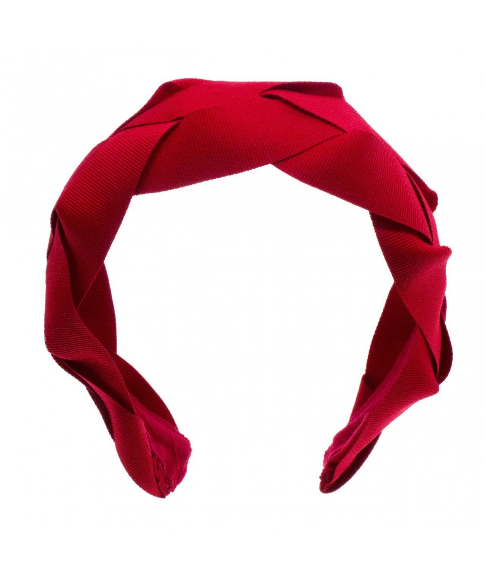 Red Solid Braided Grosgrain Headband