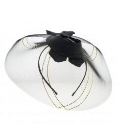 Horse Hair Braid Side Dish Headpiece with Metallic Thread Detail