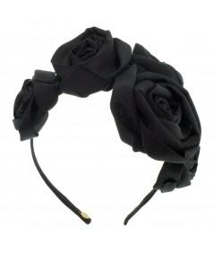 Handmade Ribbon Roses on Headband - Black