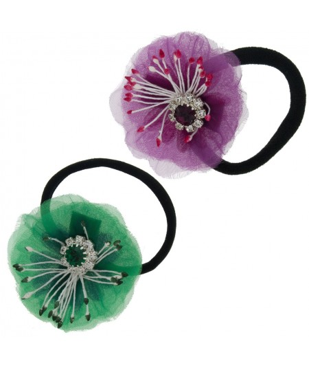 Flower Ponytail Holder with Rhinestone by Jennifer Ouellette