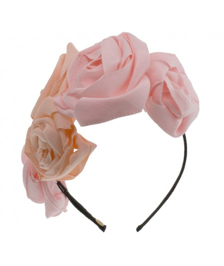 Grosgrain Hand Made Rose Trimmed Headband