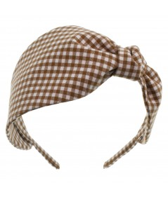 Brown Gingham Check Headband