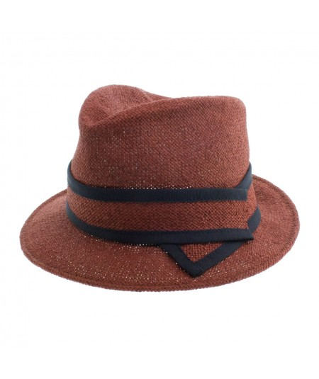 Straw Fedora Hat with Grosgrain Bind Band
