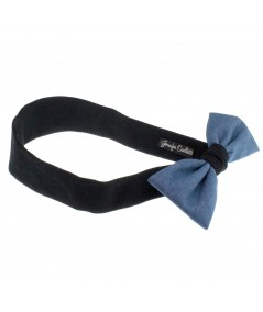 Denim Bow on Cotton Twill Band