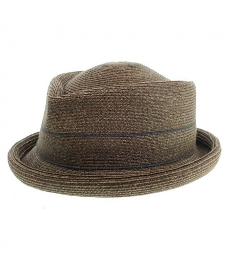 Humphrey Toyo braid rolled brim fedora with contrast stripe