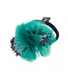 Teal Flower Ponytail Holder by Jennifer Ouellette