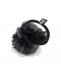 Black Flower Ponytail Holder by Jennifer Ouellette
