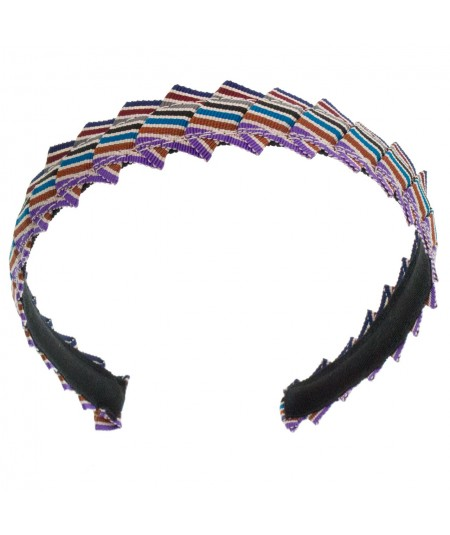 Narrow Pleated Stripe Grosgrain Headband