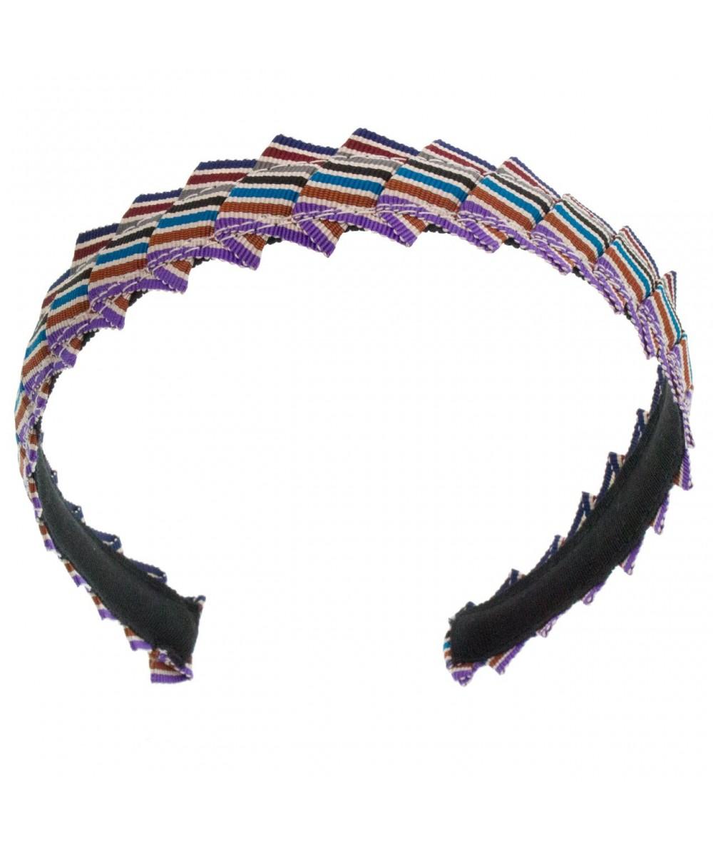 Narrow Pleated Stripe Grosgrain Headband