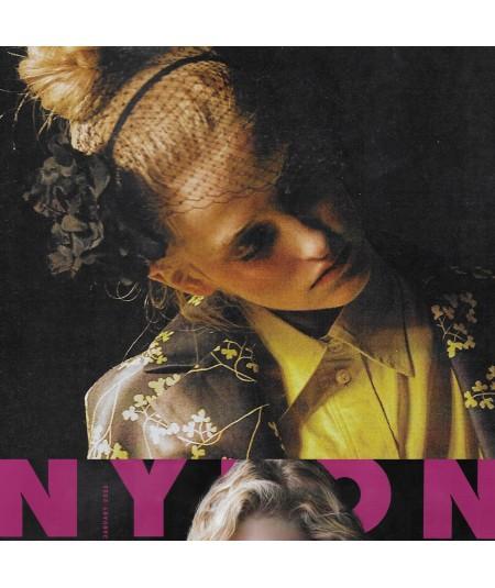 Jennifer-Ouellette-Nylon-magazine-organza-flower-pom-pom-fascinator