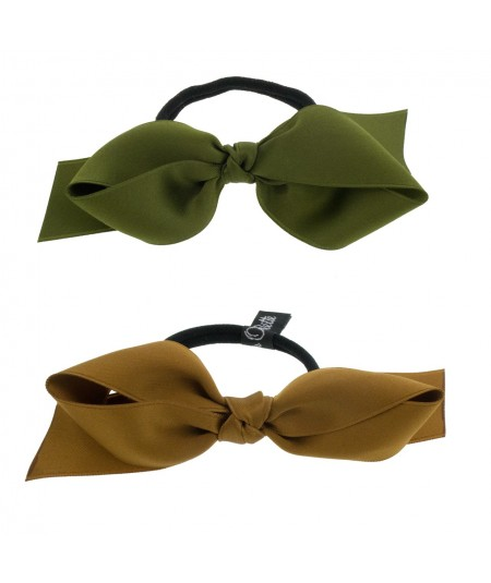 Olive - Bronze Satin Ribbon Bow Pony