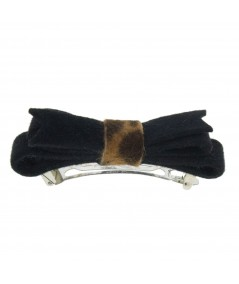 Velour Barrette with Animal Print Accent