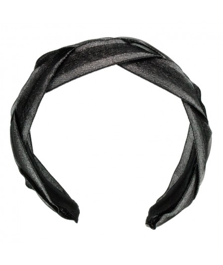 Black with Silver Braided Metallic Trim Headband