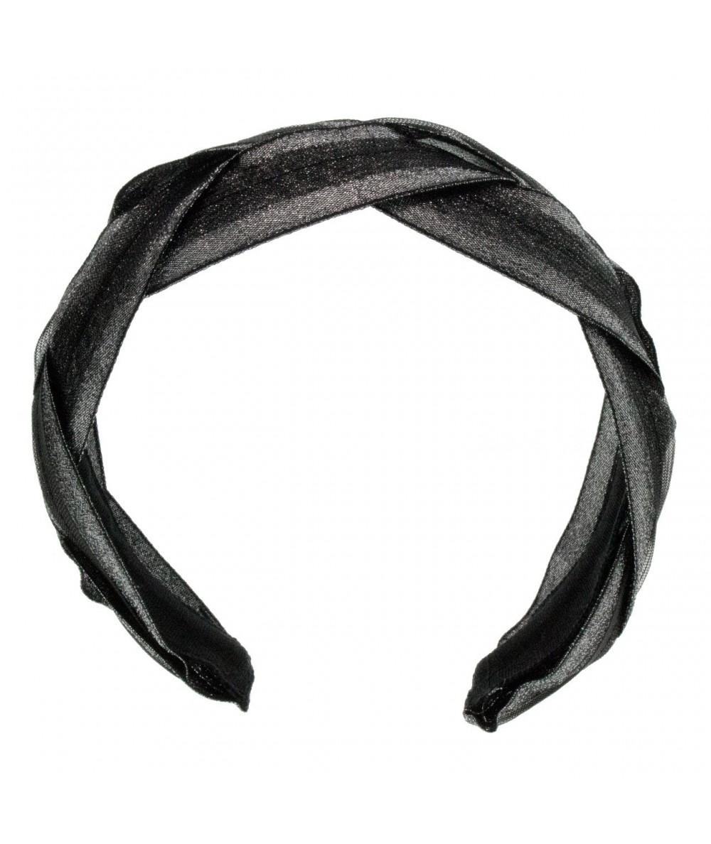 Black with Silver Braided Metallic Trim Headband