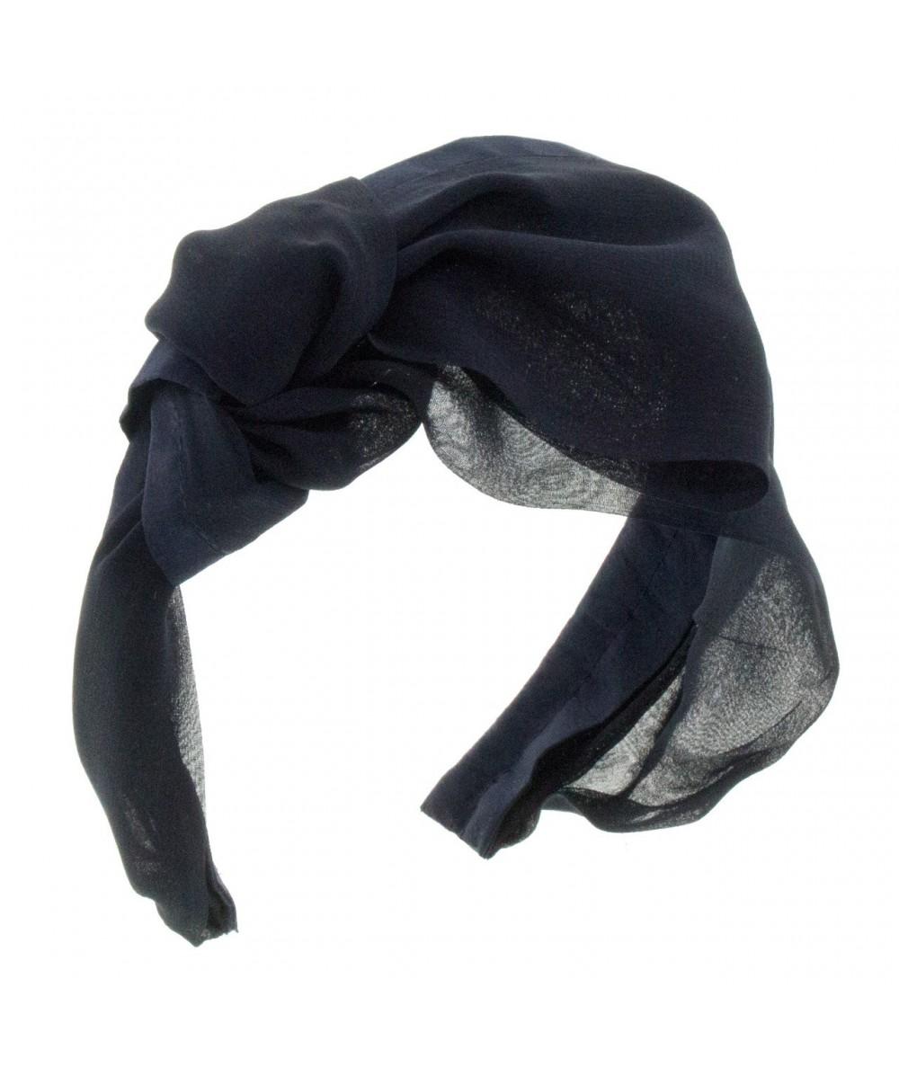 Navy draped-chiffon-extra-wide-headband-with-side-knot-bow