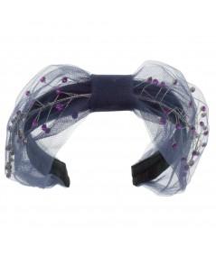 Cosmos Turban Sparkle Beaded Headband - Navy with Lavender