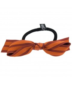 Rust - Copper Satin Stripe Millinery Bow Ponytail Holder by Jennifer Ouellette