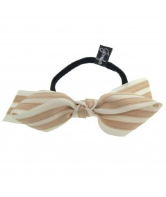 Ivory - Beige Satin Stripe Millinery Bow Ponytail Holder by Jennifer Ouellette