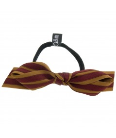 Bronze - Bordeaux Satin Stripe Millinery Bow Ponytail Holder by Jennifer Ouellette