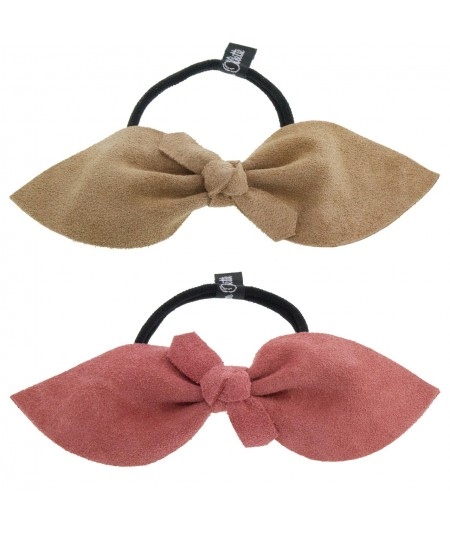 Taupe - Coral Suede Bow Ponytail Holder by Jennifer Ouellette