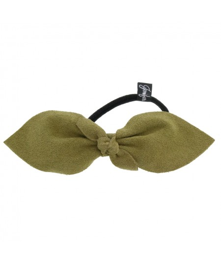 Olive Suede Bow Ponytail Holder by Jennifer Ouellette