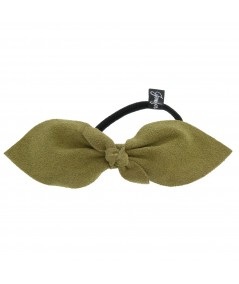 Olive Suede Bow Ponytail Holder by Jennifer Ouellette